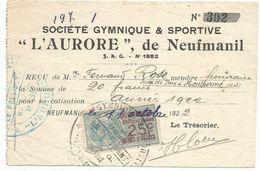 Factures Societé Gymnique & Sportive L Aurore De Neufmanil  Ardennes 1922 - 1900 – 1949