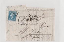 LETTRE GC 1  ABBEVILLE  INDICE 14 (COTE 120 EUROS) - Marcophilie (Lettres)