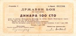 WWII SERBIA 1943 100 DINARA BON - Serbia