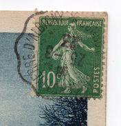 """Cachet  Convoyeur-ambulant""""Bourg St Maurice à St Pierre D'Albigny""""sur Tp Semeuse--le Tout Sur Carte Postale Lac D'Annecy - Marcophilie (Lettres)"""