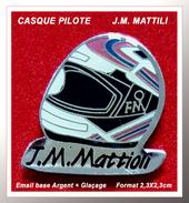 SUPER PIN'S MOTO : Casque Du Pilote J.M MATTIOLI Sur HONDA Vainqueur Blo D'Or, 24h Du Mans ......émail Argent + Glaçage - Motorräder