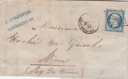 LETTRE CLASSIQUE CLERMONT FERRAND POUR RIOM  27 NOV 55 - E. FORESTIER CLERMONT-FD   /2 - Postmark Collection (Covers)