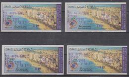 ISRAEL 1998 MASSAD ATM WORLD STAMP EXHIBITION TEL AVIV YAFO 1.15 1.8 2.2 2.7 SHEKELS - Franking Labels