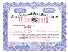 Certificat De Valeurs Américaines - First National Bank In Yonkers - Titre De 1966 - Banque & Assurance
