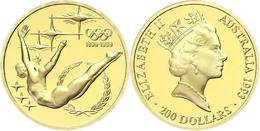 477 200 Dollars, Gold, 1993, 100 Jahre Olympische Spiele Der Neuzeit-Turnerin, Fb. 58, KM 220, In Kapsel, In Originalaus - Australia