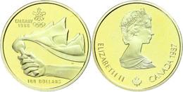 541 100 Dollars, Gold, 1987, XV. Olympische Winterspiele 1988 In Calgary-Olympisches Feuer In Der Form Der Rocky Mountai - Canada