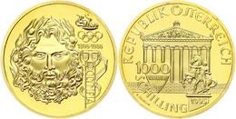 597 1000 Schilling, Gold, 1995, 100 Jahre Olympische Spiele Der Neuzeit-Kopf Des Zeus, Fb. 922, KM 3028, In Kapsel, In O - Austria