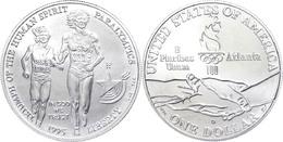 664 1 Dollar, Silber, 1995, XXVI. Olympische Sommerspiele 1996 In Atlanta Und X. Paralympische Sommerspiele 1996 In Atla - United States