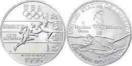 667 1 Dollar, Silber, 1995, XXVI. Olympische Sommerspiele 1996 In Atlanta Und X. Paralympische Sommerspiele 1996 In Atla - United States