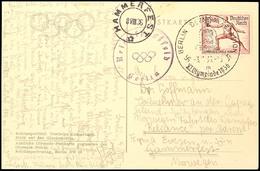"""4015 15 Pfg. Olympiade Mit Sonderstempel """"BERLIN-STADION 3.8.36"""" Auf Portogerechter Offiziellen Ansichtskarte """"Reichsspo - Germany"""