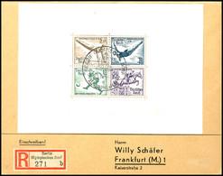 4025 Olympia-Blockpaar, Je Auf R-Brief Mit Sonderstempel BERLIN OLYMPISCHES DORF 22.8.36 Nach Frankfurt Mit Ankunftsstem - Germany