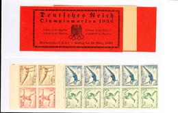 4215 Olympiade 1936, Markenheftchen Postfrisch (aufgetrennt, Ohne Klammer), Heftchenblätter Oben Mit Passerkreuz Bzw. -s - Germany