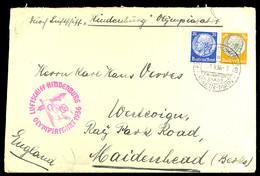 4599 1936, Olympia-Fahrt, Brief Mit Normaler Frankatur Ab Frankfurt Main Nach England Adressiert, Kuvert Mit Kleinen Bed - Germany