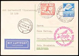 4604 1936, Olympiafahrt LZ 129, Auflieferung Rhein/Main-Flughafen, Mit 12 Pfg Olympiade-Sondermarke Und 40 Pfg Lufthansa - Germany