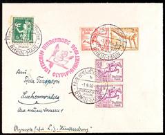 4605 1936, Olympiafahrt LZ 129, Auflieferung Rhein/Main-Flughafen, Zumeist Mit Olympiade-Sondermarken (Zusammendruck 3+1 - Germany