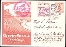 4606 1936, Olympiafahrt LZ 129, Auflieferung Rhein/Main-Flughafen, 15 Pfg Olympiade-GS-Postkarte Mit ZuF 40 Pfg Olympiad - Germany