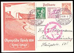 4607 1936, Olympiafahrt LZ 129, Auflieferung Rhein/Main-Flughafen, 15 Pfg Olympiade-GS-Postkarte Mit U.a. 40 Pfg Olympia - Germany