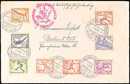 4608 1936, Olympiafahrt, Auflieferung Rhein/Main-Flughafen, Brief Mit Kpl. Olympiade-Satz, Minimale Patinaspuren (alter  - Germany