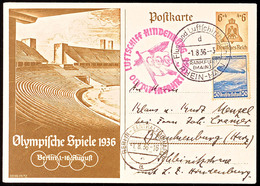 4609 1936, Olympiafahrt LZ 129, Auflieferung Rhein/Main-Flughafen, 6 Pfg Olympiade-GS-Postkarte Mit ZuF 50 Pfg Zeppelin- - Unclassified