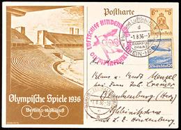 4609 1936, Olympiafahrt LZ 129, Auflieferung Rhein/Main-Flughafen, 6 Pfg Olympiade-GS-Postkarte Mit ZuF 50 Pfg Zeppelin- - Germany