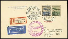 4612 1936, 6. Nordamerikafahrt, Zuleitung Olympische Spiele, Einschreiben-Brief Mit Sonder-R-Zettel Und SST OLYMPISCHES  - Germany