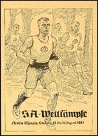 "4672 1937, ""SA-Wettkämpfe Berlin Olympia Stadion..."" Postkarte Nr. 5, Frankiert Mit 6 Pf. Hitler-Blockmarke, SST, Blanko - Germany"