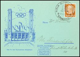"""4676 Olympische Spiele Berlin 1936, Werbekarte """"Behrens-Abosysteme"""" Mit Tor Der Olymp. Kampfbahn, SST OLYMPIA-STADION  B - Germany"""