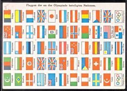 4677 1936, Flaggen Der An Der Olympiade Beteiligten Nationen, Color Karte, Pass. Frankiert Mit MiNr. 611, Postalisch Bef - Germany
