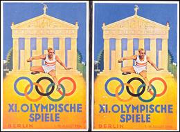 """4679 1936, XI. OLYMPISCHE BERLIN, 2 Color Gedenkkarte, Je Mit Entspr. Marke Und Pass. SST, Blanko, Rücks Variante """"Die T - Germany"""