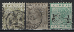 Cipro 1882/86  Unif.20,21,23 O/Used VF/F - Chypre (...-1960)
