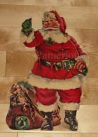 """Die Cut, Decoupis - Ancienne Decoration Noel Tres Grande 39 X 21 Cm """" Père Noel """" Vintage U.S.A. Cir 1960 - Xmas"""