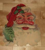 """Die Cut Decoupis - Ancienne Decoration Noel Tres Grande 41 X 32 Cm """" Père Noel """" Vintage U.S.A. Cir 1960 DENNINSSON - Xmas"""