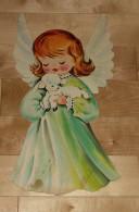 """Die Cut Decoupis - Ancienne Decoration Noel Tres Grande 40 X 22 Cm """" Ange Et Agneau"""" Vintage U.S.A. Cir 1960 - Xmas"""
