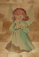 """Die Cut Decoupis - Ancienne Decoration Noel Tres Grande 40 X 22 Cm """" Ange Et Agneau"""" Vintage U.S.A. Cir 1960  Dennison - Xmas"""