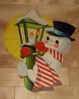 """Die Cut Decoupis - Ancienne Decoration Noel Tres Grande 41 X 33 Cm """" Bonhomme De Neige Lampe """" Vintage U.S.A. Cir 1960 - Xmas"""