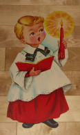 """Die Cut Decoupis - Ancienne Decoration Noel Tres Grande 41 X 20.5 Cm """"Enfant Chorale """" Vintage U.S.A. Cir 1960 Dennison - Xmas"""