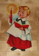 """Die Cut Decoupis - Ancienne Decoration Noel Tres Grande 41 X 20.5 Cm """"Enfant Chorale """" Vintage U.S.A. Cir 1960 Dennison - Noël"""