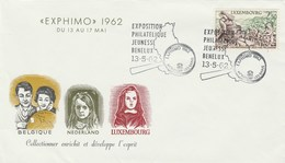 1962 LUXEMBOURG Youth PHILATELIC EXHIBITION BENELUX  EVENT COVER , Magnifying Glass, Stamps Agriculture - Luxembourg