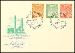 """9180 4 Pfg Bis 20 Pfg Vorolympische Festtage Auf Amtl. Blanko-FDC Mit Ersttagssonderstempel """"BERLIN 20.6.52"""", Tadellos,  - Germany"""