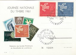 1961 LUXEMBOURG Event EUROPA STAMPS DAY CARD Cover Stamps - Luxembourg