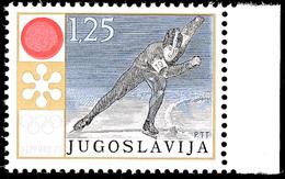 9955 1,25 Din. Olympiade Sapporo Mit Doppeldruck Der Farbe Rot; Postfrisches Randstück In Tadelloser Erhaltung; Gepr. Un - Yugoslavia