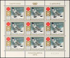 9956 6 Din. Olympiade Sapporo, Im Kleinbogen Zu 9 Werten Mit Doppeldruck Der Farbe Gold, Postfrischer Kleinbogen In Tade - Yugoslavia