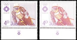 10079 4 Din. Olympiade, Die Bekleidung Des Skifahrers Ist Dunkelviolettbraun Statt Braun, Postfrisch, Gepr. U. Fotoattes - Yugoslavia
