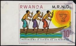 RWANDA - Scott #876a Men Poling Boat Facing / Used Imperf. Stamp - Rwanda