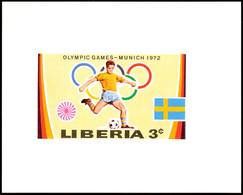 10500 3 C. Olympiade München 1972, Fußball, Als Ungezähnte Probedruck-Blockausgabe, Tadellos Postfrisch, Katalog: 826PU  - Liberia