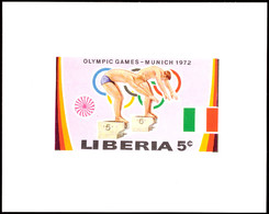 10501 5 C. Olympiade München 1972, Schwimmen, Als Ungezähnte Probedruck-Blockausgabe, Tadellos Postfrisch, Katalog: 827P - Liberia