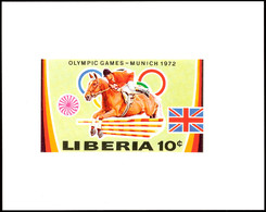 10502 10 C. Olympiade München 1972, Springreiten, Als Ungezähnte Probedruck-Blockausgabe, Tadellos Postfrisch, Katalog:  - Liberia