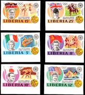 10503 5 Bis 25 C. Olympiade München 1972, Goldmedaillengewinner, Kpl. Unterrand-Satz Breitrandig Ungezähnt Statt Gezähnt - Liberia