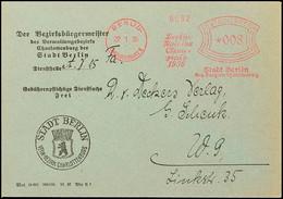 """10566 1936, Berlin, Behördenbrief Mit Rotem Freistempel Mit Reklametext In Sütterlinschrift """"Berlin Stadt Der Olympiade  - Postcards"""