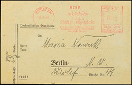 """10567 1936, Berlin, Behördenbrief Mit Rotem Freistempler Mit Reklametext """"1936 Berlin Stadt Der Olympiade""""  BF - Postcards"""